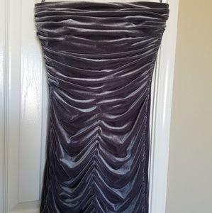 Jessica McClintock Velvet Dark Grey Formal Dress
